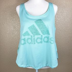 Adidas mint pastel turquoise graphic tank top